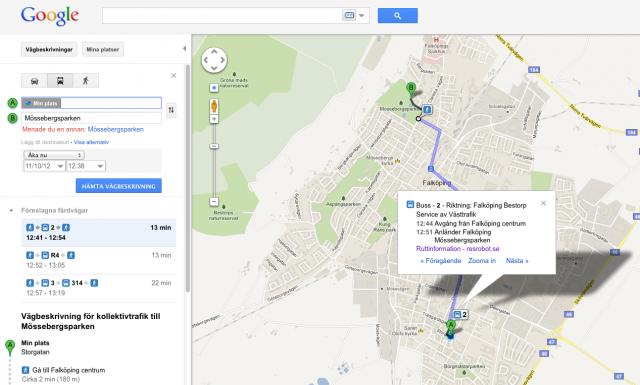 Kollektivtrafik i Google Maps